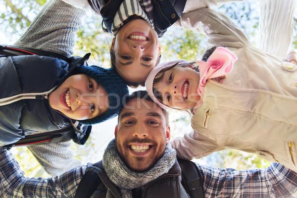 счастливая семья лицах улице лагерь лесу кемпинга Сток-фото © dolgachov