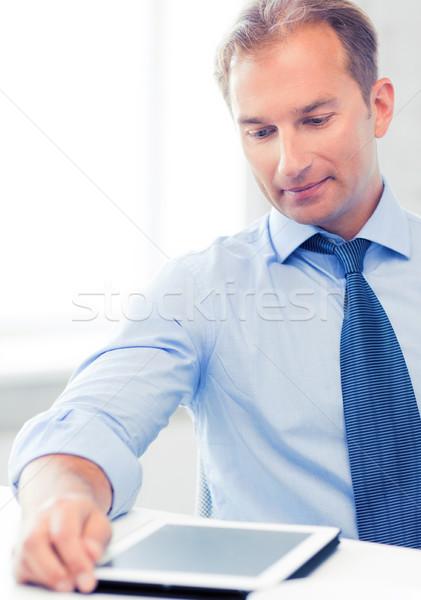 Stockfoto: Zakenman · koffie · kantoor · glimlachend · drinken