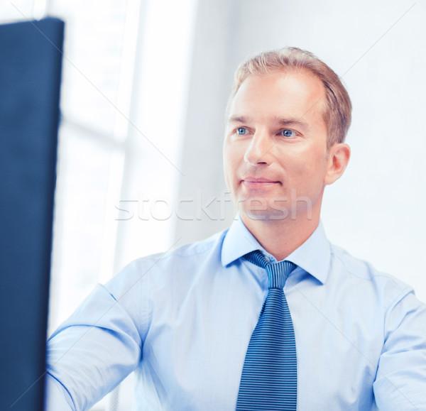 ビジネスマン 電卓 コンピュータ 論文 ビジネス オフィス ストックフォト © dolgachov