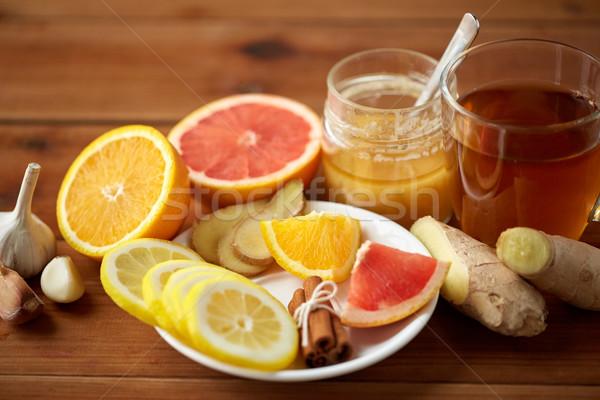 Imbir herbaty miodu cytrus czosnku drewna Zdjęcia stock © dolgachov