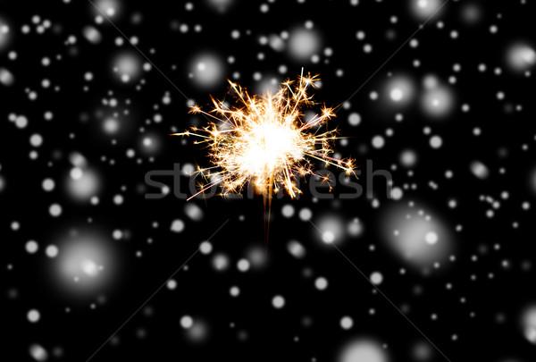 Brylant bengalski świetle palenie czarny christmas Zdjęcia stock © dolgachov