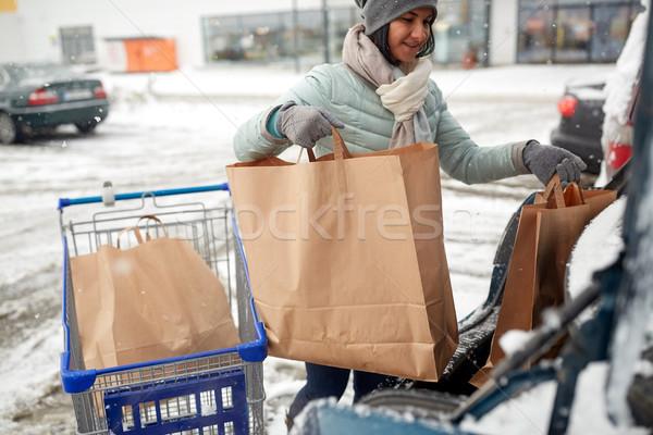 女性 食品 ショッピングカート 車 交通 ストックフォト © dolgachov