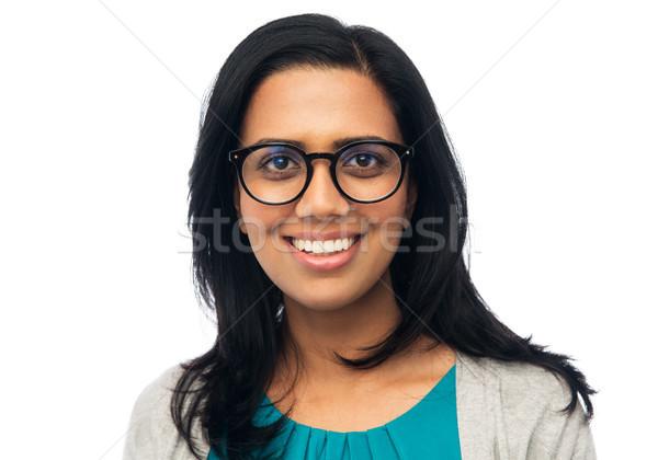 Boldog mosolyog fiatal indiai nő szemüveg Stock fotó © dolgachov