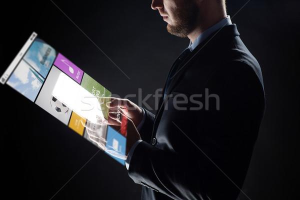 Imprenditore trasparente uomini d'affari multimediali Foto d'archivio © dolgachov