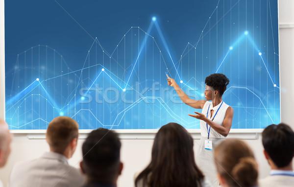 Csoportkép üzlet konferencia előadás statisztika emberek Stock fotó © dolgachov