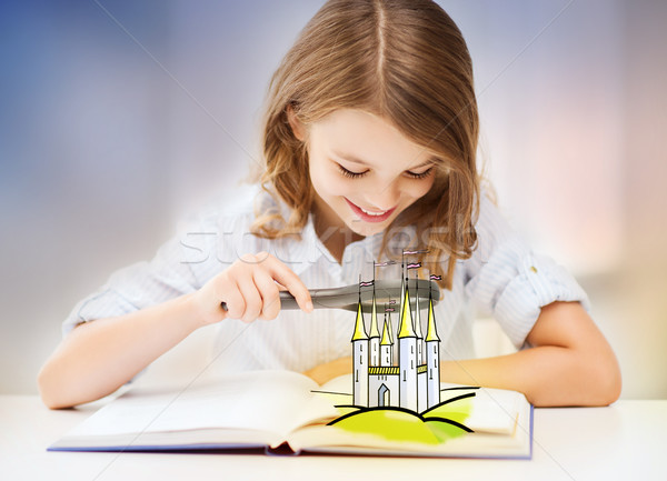 girl with magnifier reading fairytale book Stock photo © dolgachov