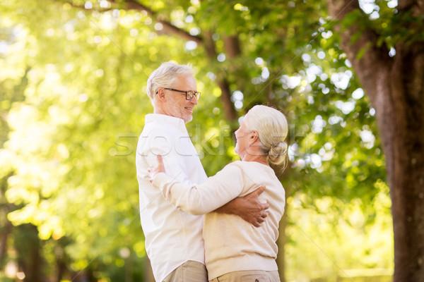 Boldog idős pár tánc nyár park aggkor Stock fotó © dolgachov
