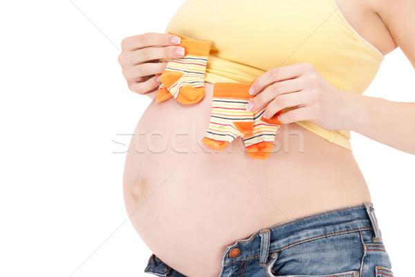 Mulher grávida barriga gêmeo meias quadro belo Foto stock © dolgachov