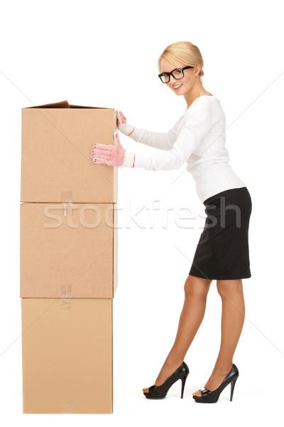 Сток-фото: привлекательный · деловая · женщина · большой · коробки · фотография · женщину