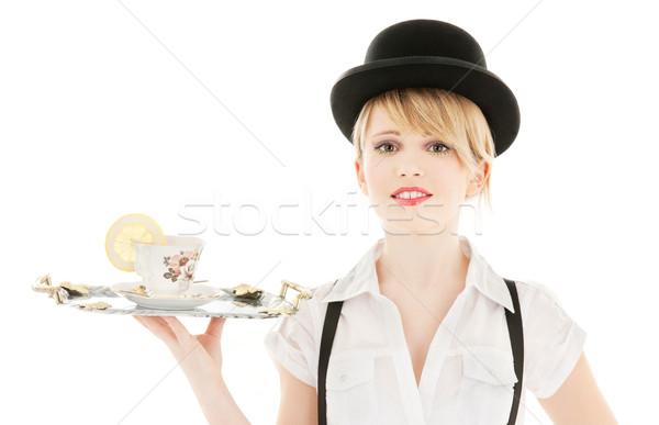 Copo chá brilhante quadro menina mulher Foto stock © dolgachov