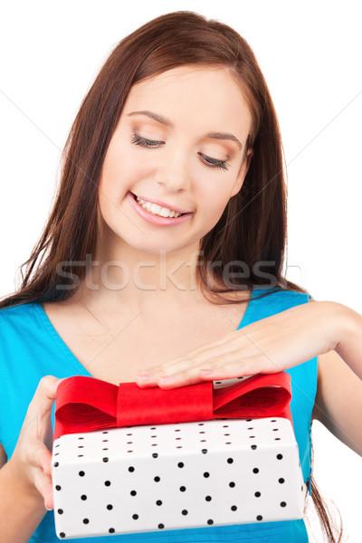 ストックフォト: 幸せな女の子 · ギフトボックス · 白 · 女性 · 笑顔 · 幸せ