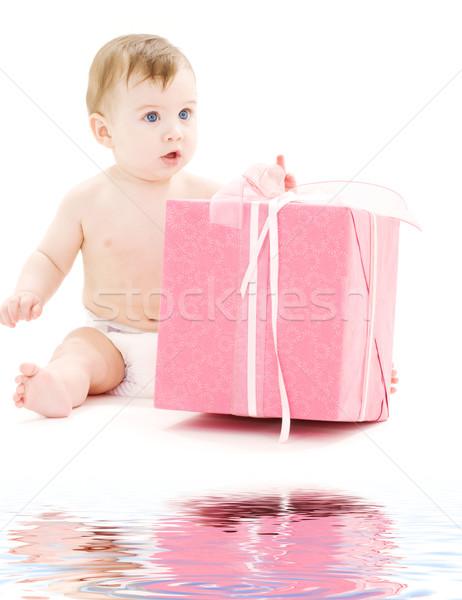 Baby jongen luier groot geschenkdoos foto Stockfoto © dolgachov