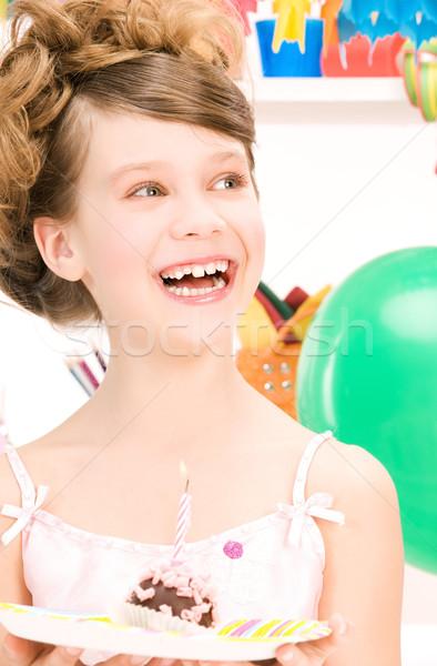Stok fotoğraf: Parti · kız · kek · resim · mutlu · kadın