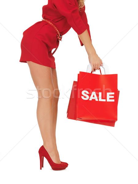 Kadın yüksek topuklu alışveriş çantası resim Stok fotoğraf © dolgachov
