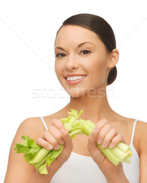 Mulher fresco aipo quadro bela mulher fitness Foto stock © dolgachov