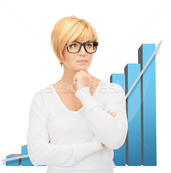 businesswoman with colorful 3d graphics Stock photo © dolgachov