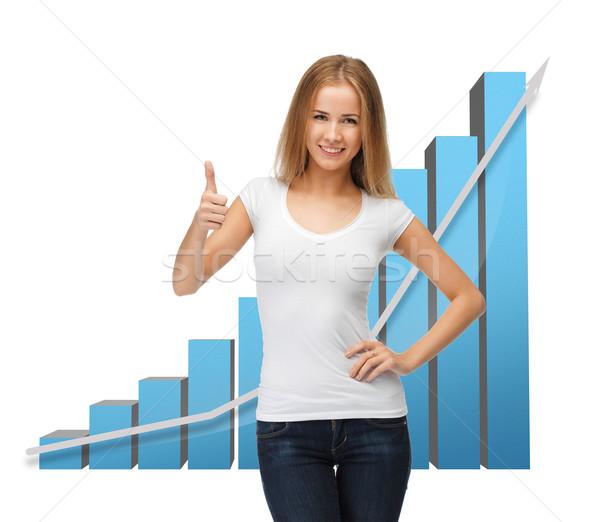 businesswoman with big 3d chart Stock photo © dolgachov