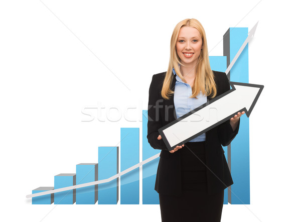 businesswoman with graph and arrow directing up Stock photo © dolgachov
