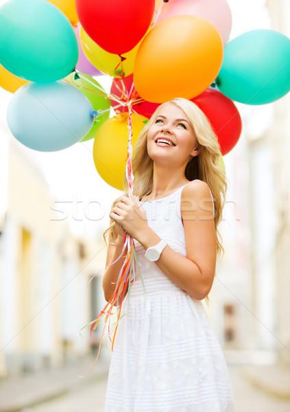 Femme coloré ballons été vacances célébration Photo stock © dolgachov