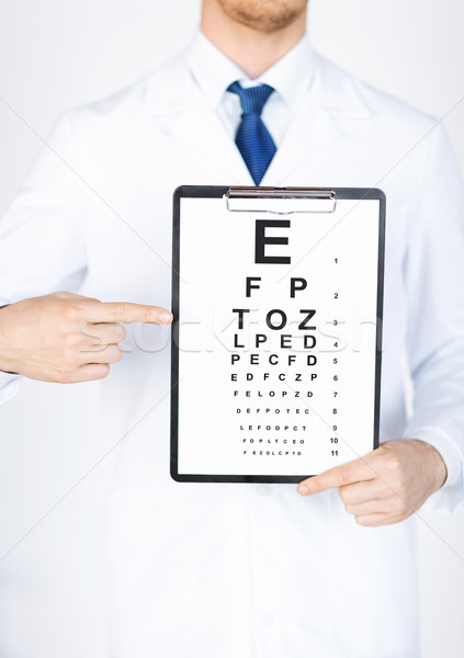 male ophthalmologist with eye chart Stock photo © dolgachov