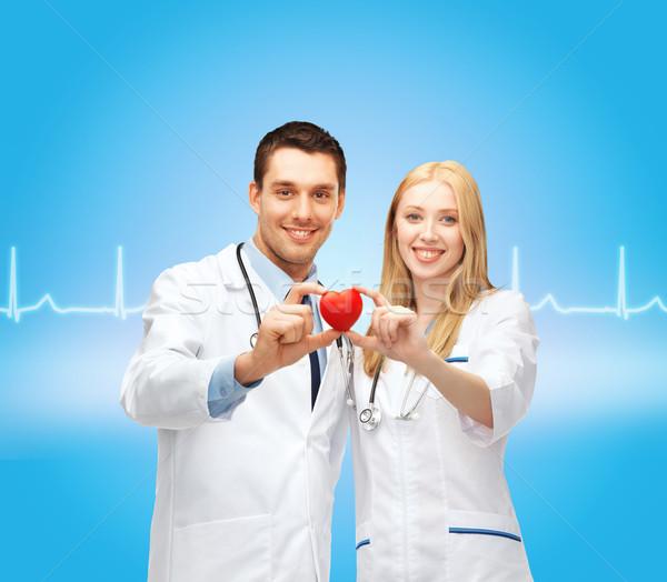 улыбаясь врачи сердце здравоохранения медицинской два Сток-фото © dolgachov