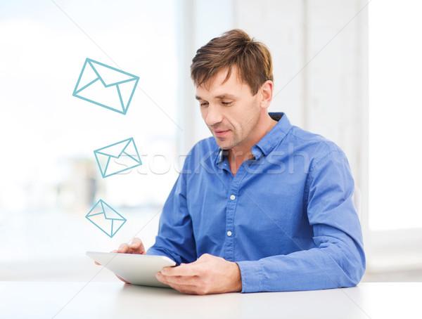 Man werken home technologie communicatie Stockfoto © dolgachov