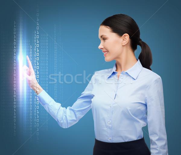 женщину рабочих мнимый виртуальный экране бизнеса Сток-фото © dolgachov