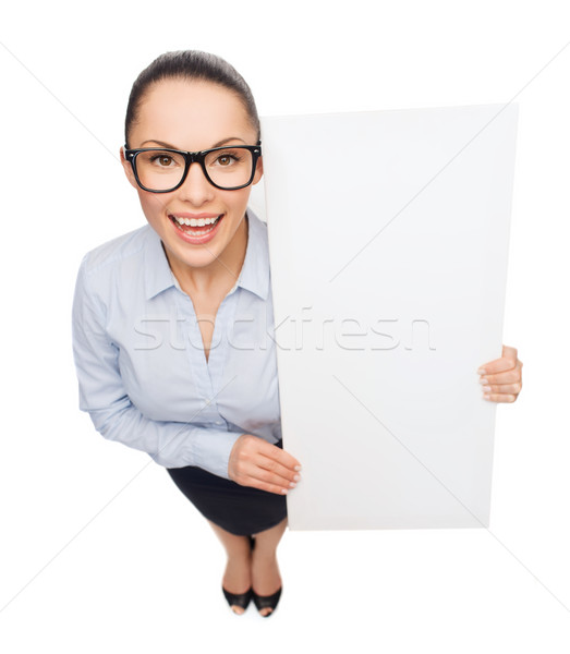 Foto stock: Sonriendo · mujer · de · negocios · blanco · bordo · negocios · anuncio