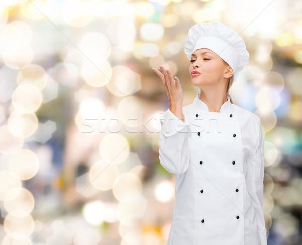 Photo stock: Souriant · Homme · chef · délicieux · signe