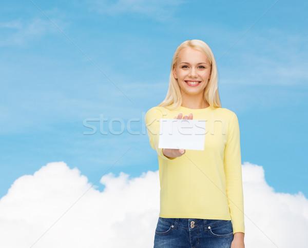 Sorridente menina negócio nome cartão felicidade Foto stock © dolgachov