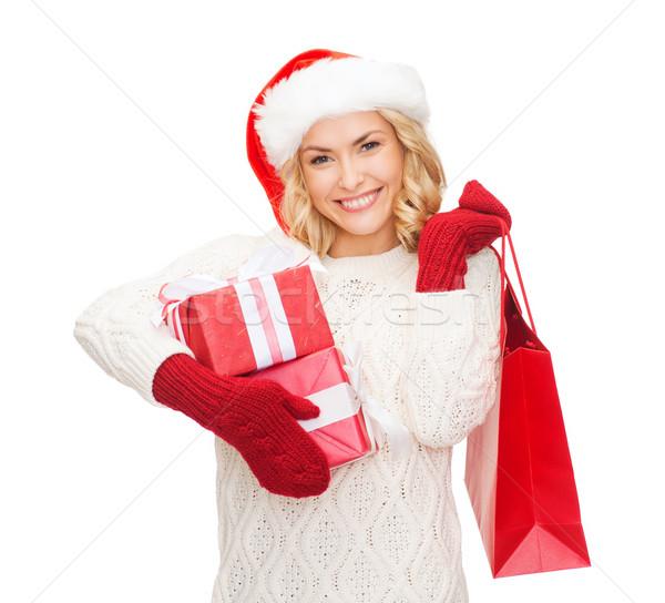Vrouw helper hoed verkoop Stockfoto © dolgachov