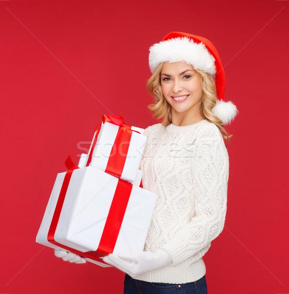 女性 サンタクロース ヘルパー 帽子 多くの ギフトボックス ストックフォト © dolgachov