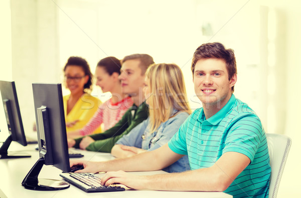 Erkek öğrenci sınıf arkadaşları bilgisayar sınıf eğitim Stok fotoğraf © dolgachov