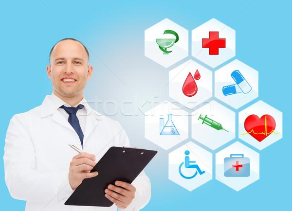 Stok fotoğraf: Gülen · erkek · doktor · stetoskop · sağlık · meslek · semboller