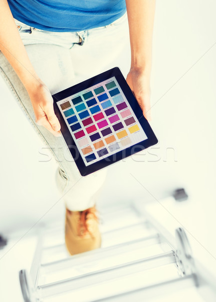 woman working with color sample app Stock photo © dolgachov