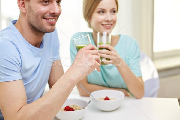 Stockfoto: Paar · ontbijt · home · voedsel · eten