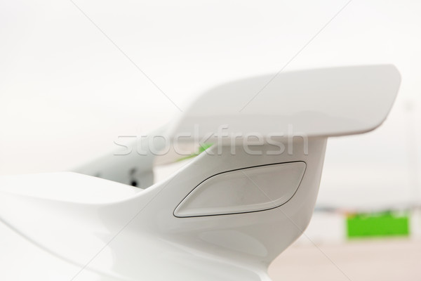 Stock photo: close up of car spoiler on speedway at stadium