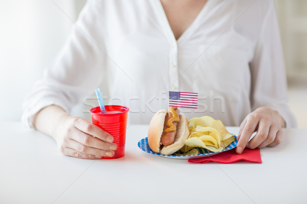 woman celebrating american independence day Stock photo © dolgachov