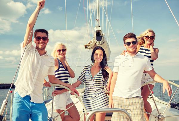 笑みを浮かべて 友達 セーリング ヨット 休暇 旅行 ストックフォト © dolgachov