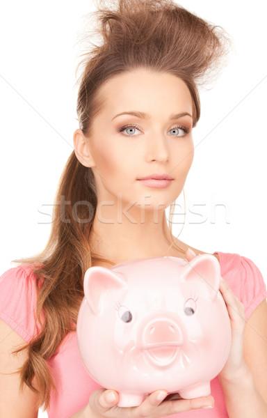 Nő persely kép portré rózsaszín személy Stock fotó © dolgachov