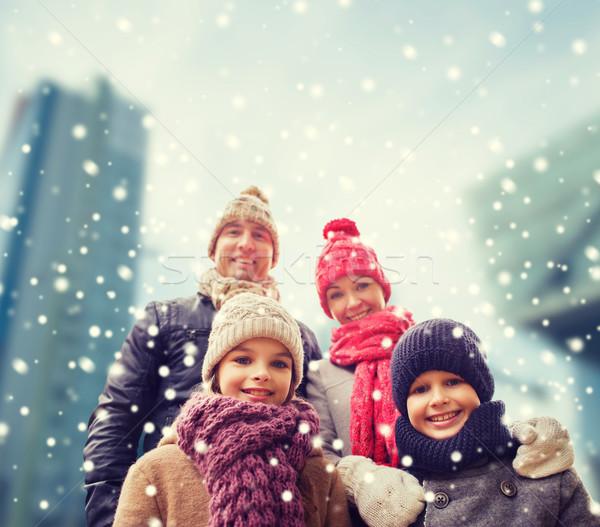 счастливая семья зима одежды улице семьи детство Сток-фото © dolgachov