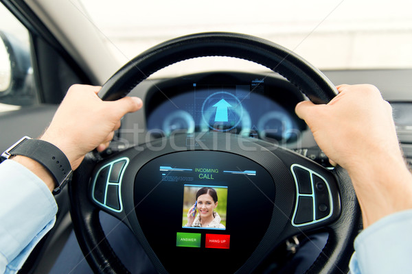 close up of man driving car with incoming call Stock photo © dolgachov