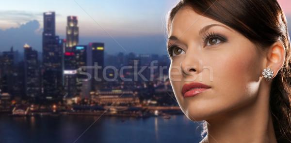女性 ダイヤモンド イヤリング 1泊 市 人 ストックフォト © dolgachov
