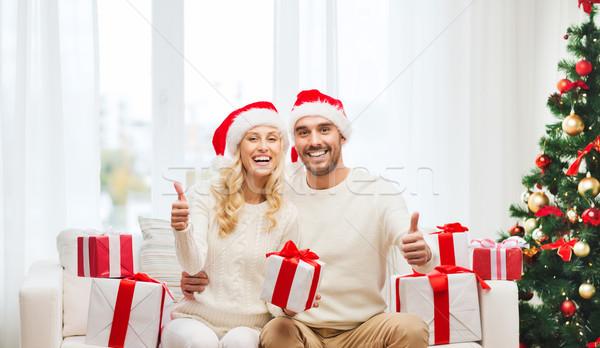 Foto stock: Feliz · Pareja · Navidad · regalos · vacaciones