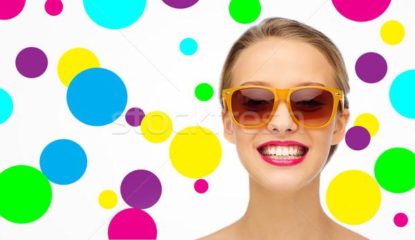 幸せ 若い女性 サングラス ピンク 口紅 美 ストックフォト © dolgachov
