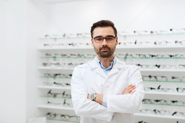 Man opticien bril jas optica store Stockfoto © dolgachov
