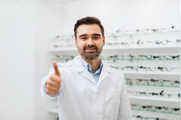 Stock fotó: Férfi · szemüveg · remek · optika · bolt · egészségügy
