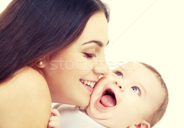 Anya csók baba család boldog emberek nő Stock fotó © dolgachov