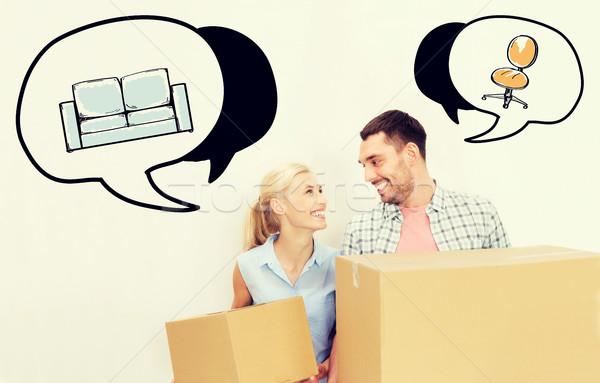 Pareja entrega cajas movimiento nuevo hogar casa Foto stock © dolgachov