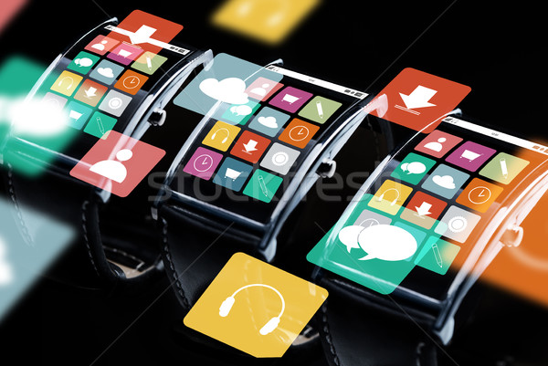 Stockfoto: Smart · horloge · ingesteld · menu · iconen